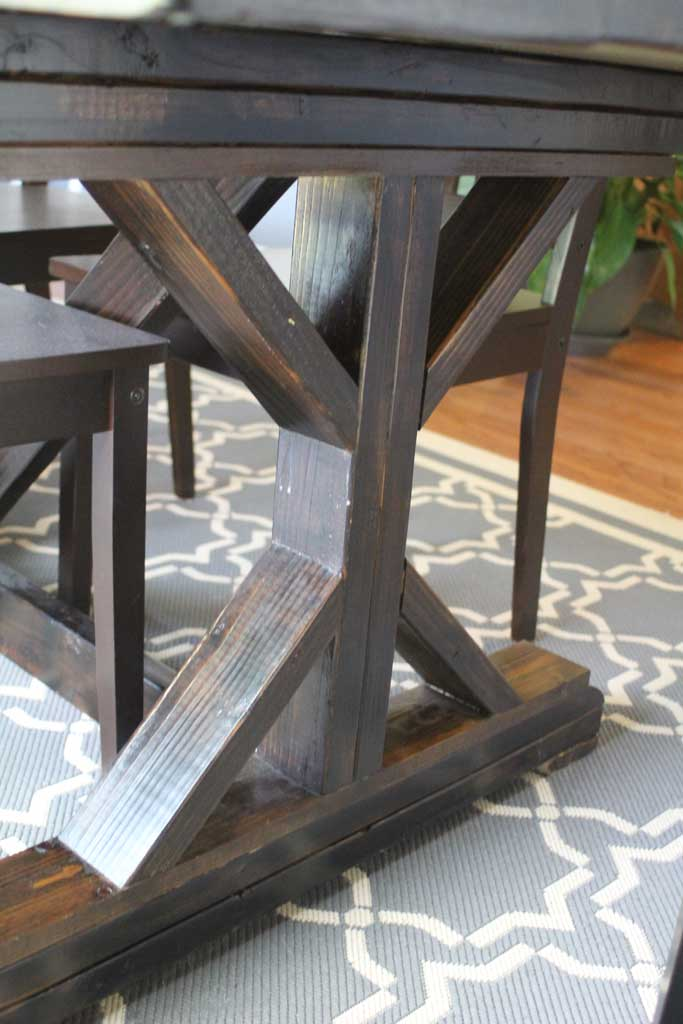 Dining room table for X leg dining room table