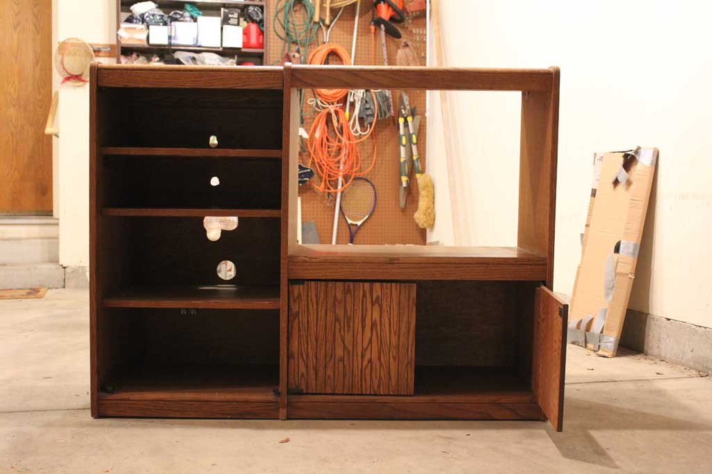 create a playkitchen out of tv cabinet