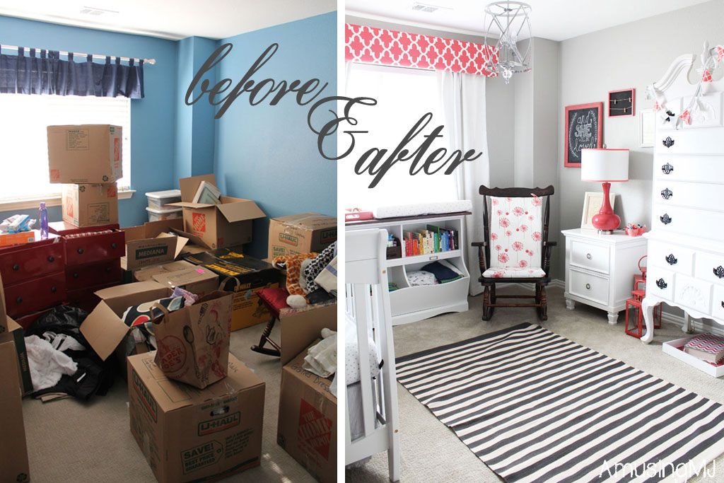 Girl's nursery before and after | www.amusingmj.com