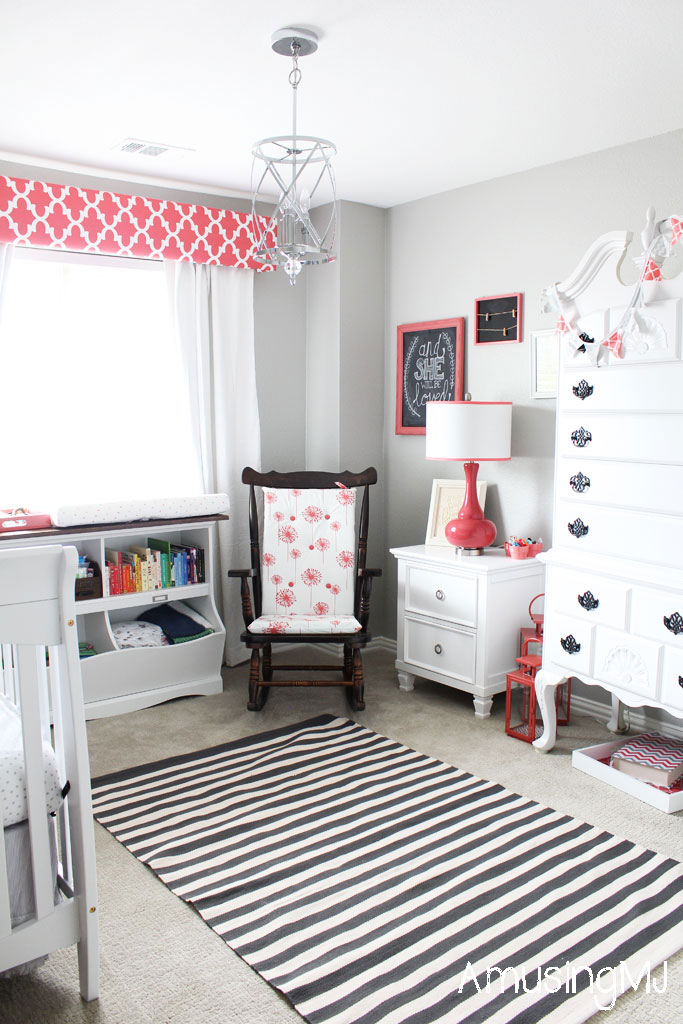 Coral and Gray Nursery | www.amusingmj.com