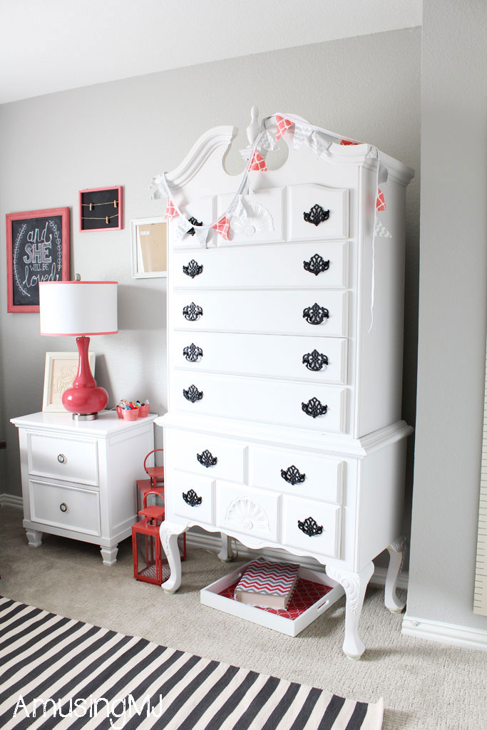 Coral and Gray Girl's Nursery | www.amusingmj.com